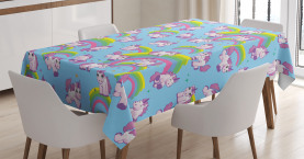 Unicorn  Tablecloth Cute Cartoon Childish Printed Table Cover