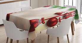 Christmas  Tablecloth Red Balls Ribbons Printed Table Cover