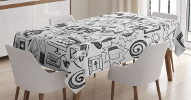 Video  Tablecloth Games Black and White Printed Table Cover