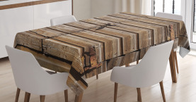 Rustic  Tablecloth Abandoned Vintage Farm Printed Table Cover