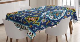 Vintage  Tablecloth Oriental Tile Effects Printed Table Cover