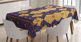 Moroccan  Tablecloth Arabic Effected Border Printed Table Cover