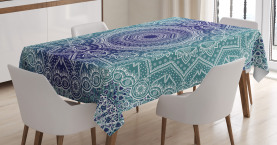Navy  Tablecloth and Teal Ombre Tribe Printed Table Cover