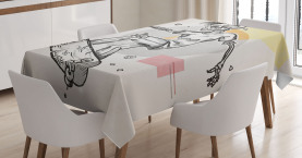 Skull  Tablecloth Skating Skeleton Boy Printed Table Cover