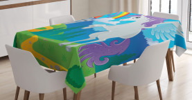 Kids  Tablecloth Unicorn with Rainbow Fairy Printed Table Cover