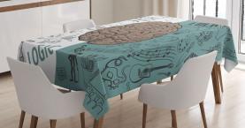 Modern  Tablecloth Music Logic Brain Art Printed Table Cover