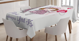 Paris  Tablecloth Hearts on Eiffel Tower Printed Table Cover