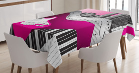 City  Tablecloth Urban Bass Guitar Rock  Printed Table Cover