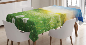 Spring  Tablecloth Dandelion Flower Field Printed Table Cover