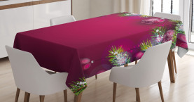 Baumkugeln Schneeflocken Tischdecke