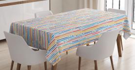 Bunte Streifen-Linien Tischdecke