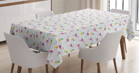 Flamingo and Pineapple Tablecloth