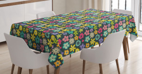 Scribbled Floral Buds Tablecloth