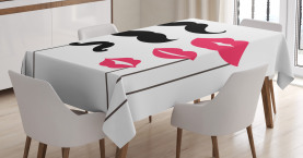 Mustache and Lips Motifs Tablecloth