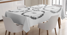 Hand Drawn Wreath Motifs Tablecloth