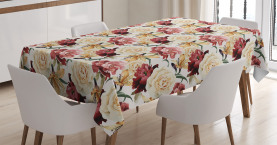 Watercolor Roses Peonies Tablecloth