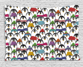 Penguin Wide Tapestry Winter Cartoon Animal Printed Wall Hanging