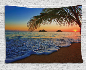 Hawaiian Wide Tapestry Sunrise Lanikai Beach Printed Wall Hanging