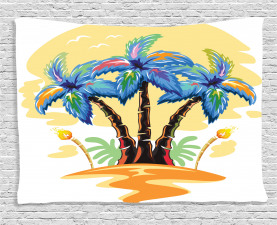 Tropical Wide Tapestry Cartoon Island Sunset Printed Wall Hanging