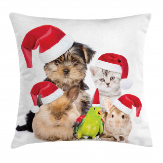 Christmas Theme Pets Pillow Cover