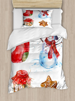 Watercolor Xmas Icons Duvet Cover Set