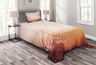 Butterflies Trees Sky Bedspread Set