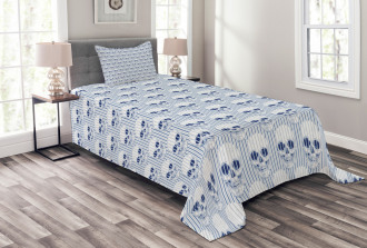 Blue Skulls Optical Bedspread Set