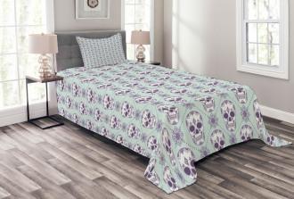 Floral Damask Skulls Bedspread Set