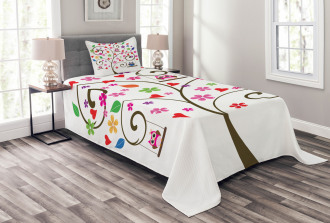 Tree Flowers Playful Birds Bedspread Set