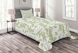 Old Leaf Swirl Floral Bedspread Set