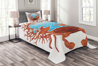 Seashells and Red Coral Bedspread Set