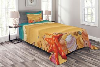 Seashell on Shore Cartoon Bedspread Set