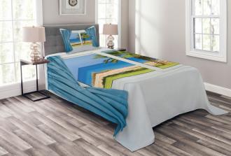 Shore Palm Tree Island Bedspread Set