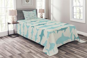Swimming Sharks in Sea Bedspread Set