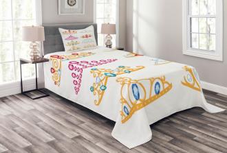 Golden Gemstones Tiaras Bedspread Set