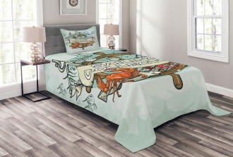 Fishing Sea Food Bedspread Set