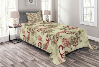 Peacocks and Snowflakes Bedspread Set