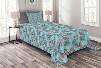 Peacocks Snowflakes Bedspread Set