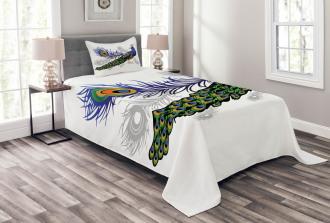 Wild Peacock Feather Bedspread Set