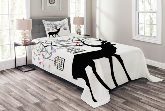 Deer Colorful Birds Bedspread Set