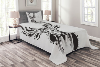 Tribal Deer Shadow Art Bedspread Set