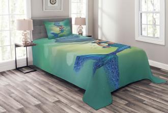 Mermaids Swimming Bedspread Set