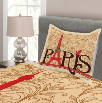 Paris Eiffel Tower View Bedspread Set