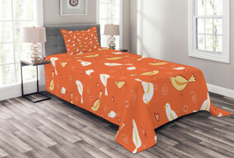 Birds with Heart Shapes Bedspread Set