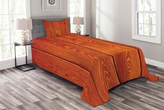 Wood Timber Floor Orange Bedspread Set