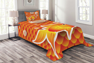 Cartoon Goldfish Bubble Bedspread Set