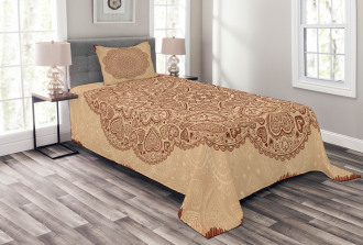Ethnic Heart and Tulips Bedspread Set