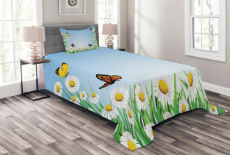 Daisy with Butterflies Bedspread Set