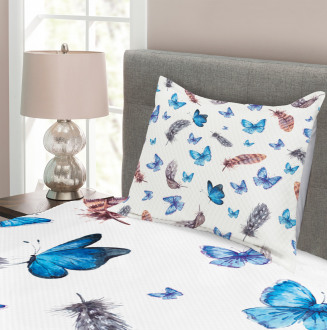 Feathers and Butterfly Bedspread Set
