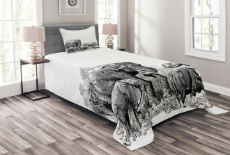 Ancient Elephants Bedspread Set